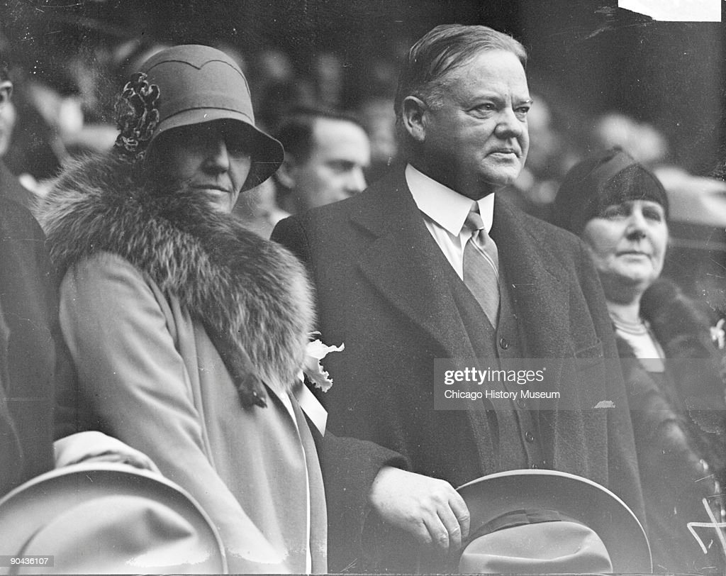 President Hoover And Wife At World Series : News Photo