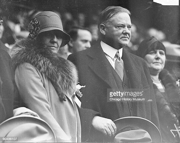 Informal halflength portrait of Herbert Hoover Secretary of Commerce from 19211928 and President of the United States from 19291933 and his wife Mrs...