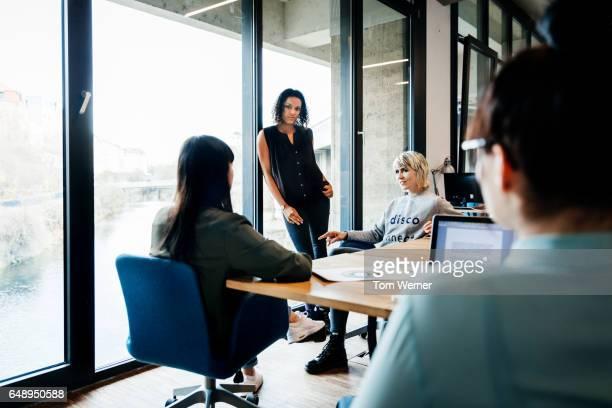 Informal meeting of start up businesswomen in modern office