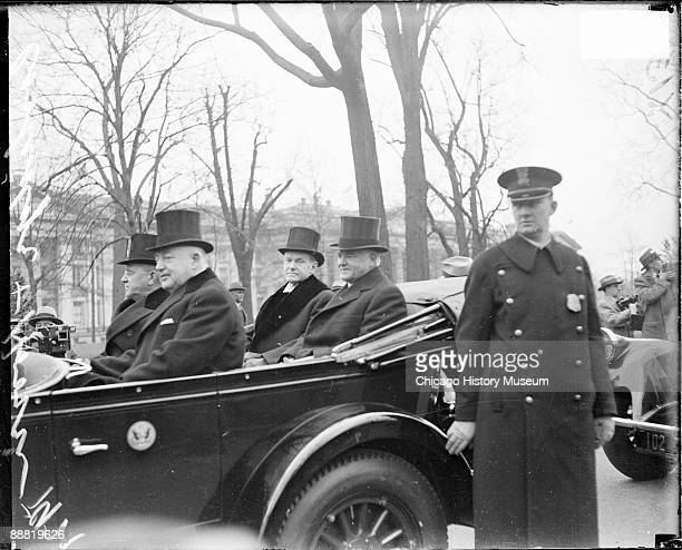 Informal portrait of Calvin Coolidge President of the United States from 19231929 and Herbert Hoover Secretary of Commerce from 19211928 and...