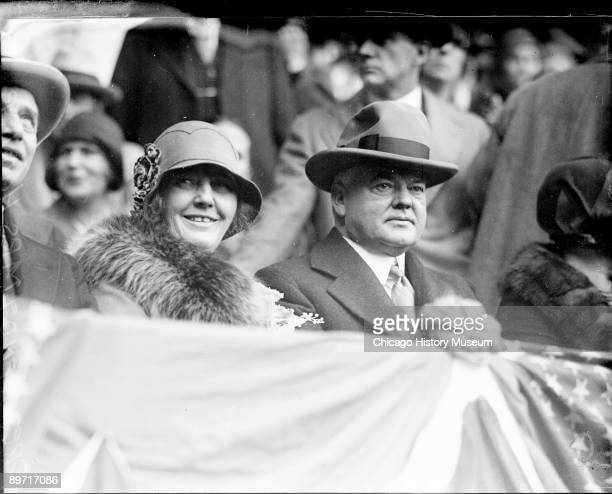 Informal portrait of Herbert Hoover Secretary of Commerce from 19211928 and President of the United States from 19291933 and his wife Mrs Lou Henry...