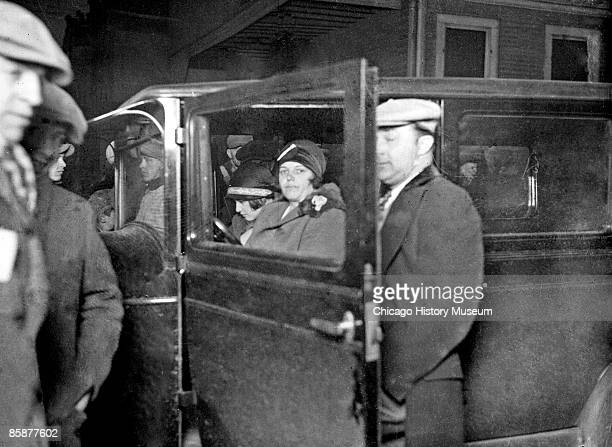Informal portrait of Mrs Joe Saltis wife of the powerful Southside gangster Joe Saltis looking toward the camera sitting in the front seat of an...