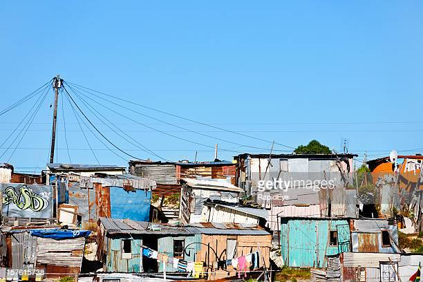 informal settlement or shantytown outside cape town - slum stock pictures, royalty-free photos & images