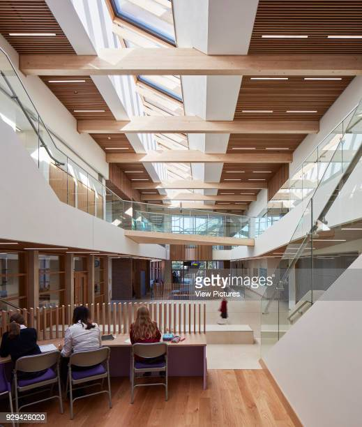 Informal study pod in open plan atrium. Highgate Shool, London, United Kingdom. Architect: Architype Limited, 2016.