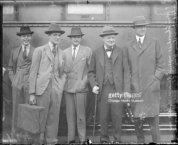 Informal threequarter length group portrait of Winston Churchill British statesman orator author and Prime Minister of Great Britian from 19401945...