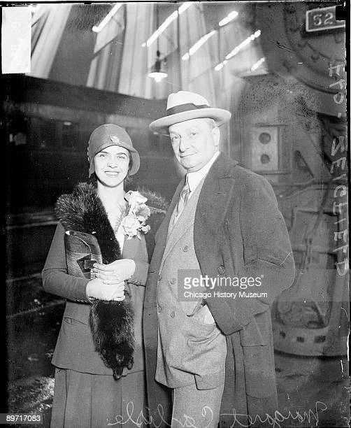 Informal threequarter length portrait of actress Miss Margaret Carlisle and impresario Florenz Ziegfeld looking toward the camera standing in front...