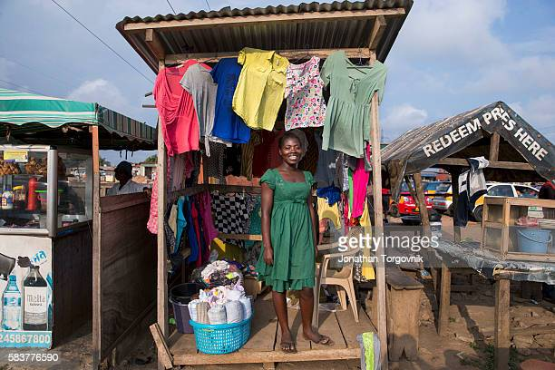 Informal worker Bety Anoyi at her cloth stand in East Legon August 12 2015 in Accra Ghana NUMBER ACC022