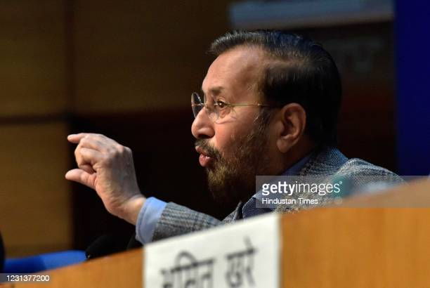 Information and Broadcasting Minster Prakash Jawdekar address the media to announces new guidelines to curb abuse of social media platforms at...