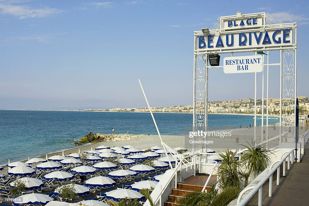 Information board at a restaurant on the beach, Nice, France : Stock Photo