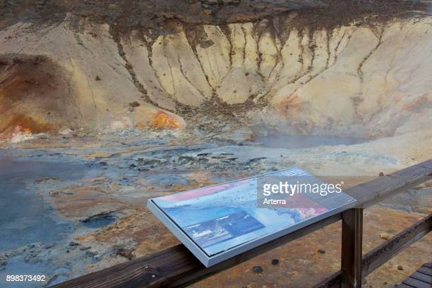 Information board at Seltun geothermal field showing volcanic fumaroles mud pots and hot springs Reykjanes Peninsula Iceland