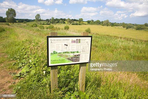 Information board at site of prehistoric track way Beccles Suffolk England