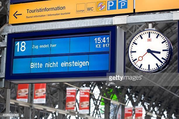 Information board on german railroad station platform
