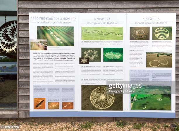 Information board panel about crop circles at the Barge Inn Honeystreet Wiltshire England UK