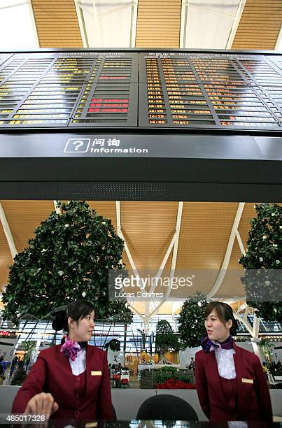 Information hostesses wait for passengers in Shanghai Pudong International airport on January 7 2009 in Shanghai China Shanghai Pudong International...