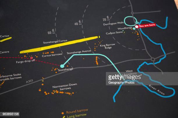 Information map showing main archaeological sites in the Stonehenge prehistoric area Amesbury Wiltshire England UK