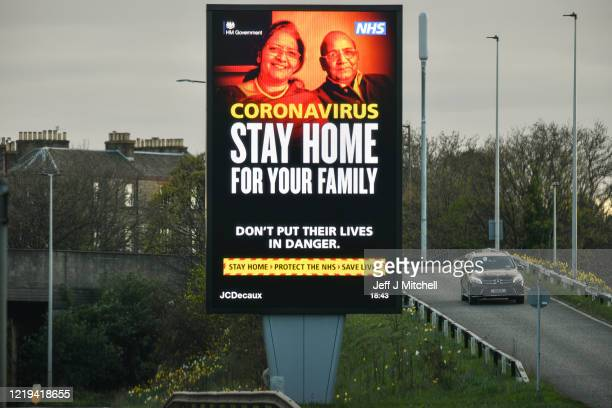 Information messages are displayed on the Western Approach Road during the coronavirus pandemic on April 17 2020 in Edinburgh Scotland The...