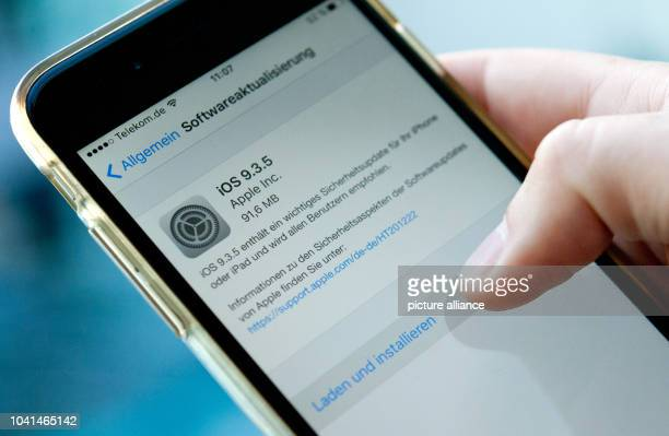 ILLUSTRATION Information on a software update for the mobile device is shown on the screen of an iPhone in Berlin Germany 26 August 2016 A newly...