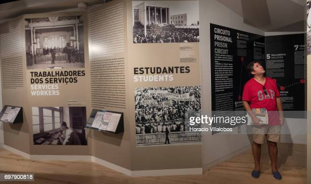 Information on the Portuguese dictatorship on display at the Aljube Museum Resistance and Freedom on June 18 2017 in Lisbon Portugal The Aljube...