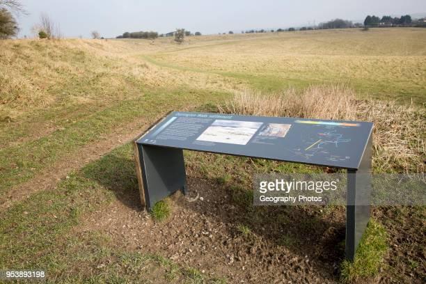 Information panel Durrington Walls Neolithic prehistoric settlement site near Amesbury Wiltshire England UK
