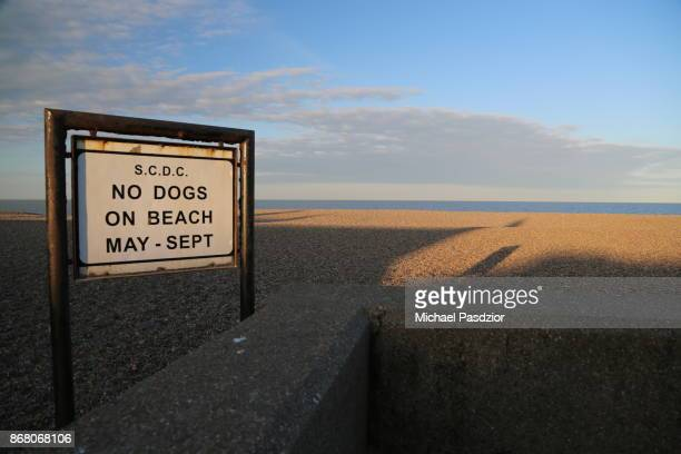 information sign at the beach - aldeburgh stock photos and pictures