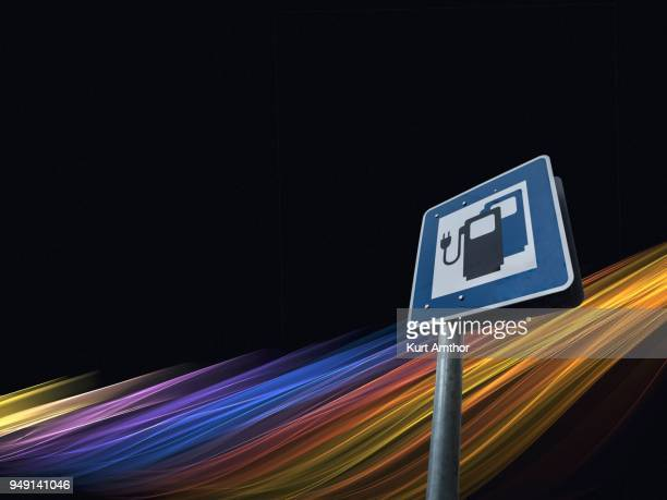 Information sign for electric car charging stations, electro-mobility, public charging device on road, Germany