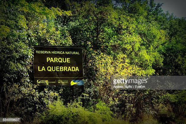 information sign in forest - andres ruffo stock-fotos und bilder
