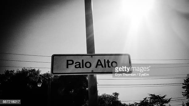 information sign on pole - palo alto stock pictures, royalty-free photos & images