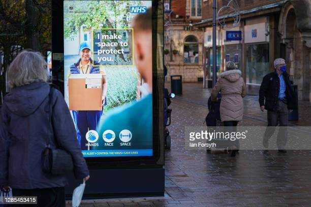 Information signs are displayed in Hull city centre on November 13, 2020 in Hull, England. Hull recorded 726.8 new cases per 100,000 people in the...