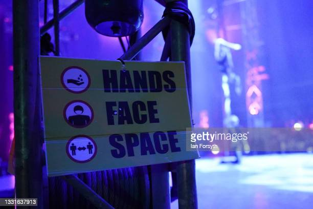 Information signs are displayed in the main arena during the performance as a new 'Pop Up' vaccination centre is opened in the Big Top of Circus...