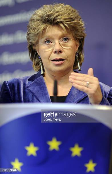 EU information society and media commissioner Viviane Reding gives a press conference on the 'Cyberellas Europe needs more women working in...