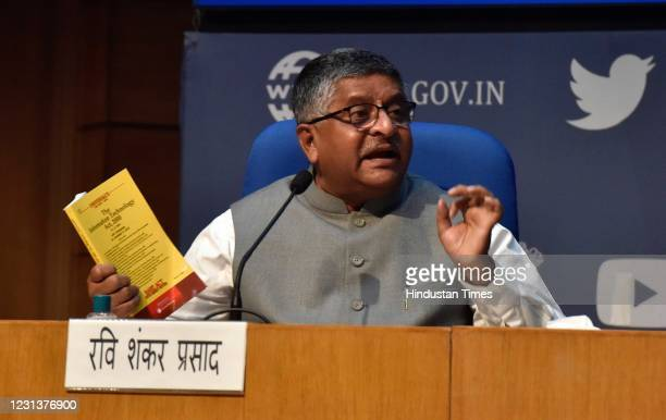 Information Technology Minister Ravi Shanker Prasad address the media to announces new guidelines to curb abuse of social media platforms at National...