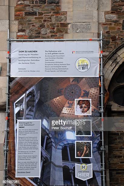InfoTafel am Aachener Dom Aachen NordrheinWestfalen Deutschland Europa Kirche Reise BB DIG PNr 1026/2011