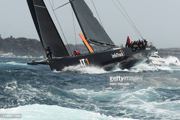 InfoTrack leads the fleet out of Sydney Harbour during the 2019 Sydney to Hobart on December 26 2019 in Sydney Australia
