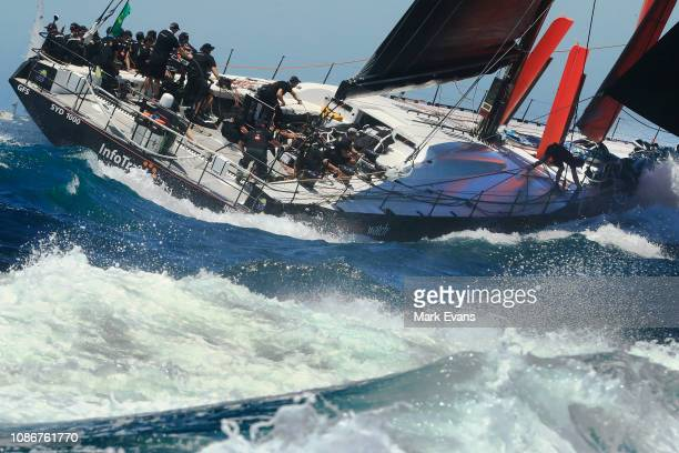 Infotrack sails out of the Sydney Heads during the start of the Sydney to Hobart Yacht race on December 26 2018 in Sydney Australia