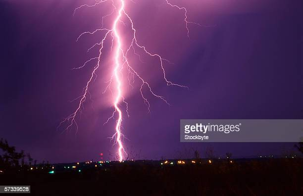 infrared shot of a bolt of lightning hitting the ground