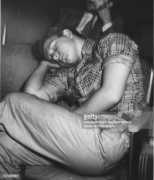 Infrared view of a man asleep in a movie theatre New York New York early to mid 1940s Photo by Weegee/International Center of Photography/Getty Images