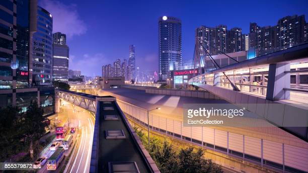 Infrastructure around Olympic Station in Hong Kong at night