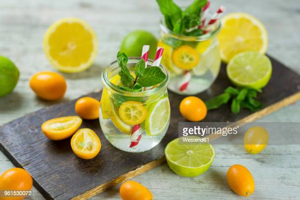 infused water with lime, lemon, kumquat and mint - infused water stock pictures, royalty-free photos & images