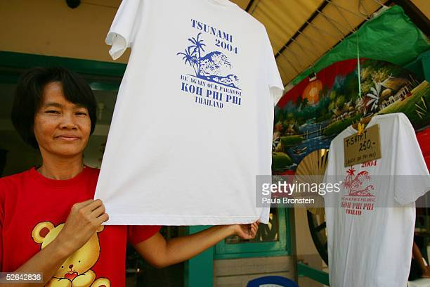 Ing a resident on Koh Phi Phi island for 17 years sells T shirts at her shop that she recently opened on Phi Phi Village along Ton Sai Bay April 15...