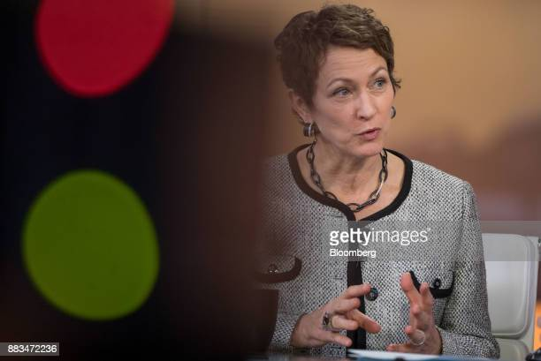 Inga Beale chief executive officer of Lloyd's of London gestures while speaking during a Bloomberg Television interview in London UK on Friday Dec 1...
