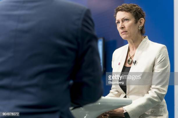 Inga Beale chief executive officer of Lloyd's of London listens during a Bloomberg Television interview on the sidelines of the Hong Kong Asian...