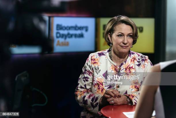 Inga Beale chief executive officer of Lloyd's of London pauses during a Bloomberg Television interview in Hong Kong China on Wednesday April 5 2017...