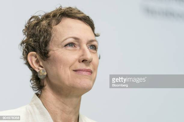 Inga Beale chief executive officer of Lloyd's of London pauses during a Bloomberg Television interview on the sidelines of the Hong Kong Asian...