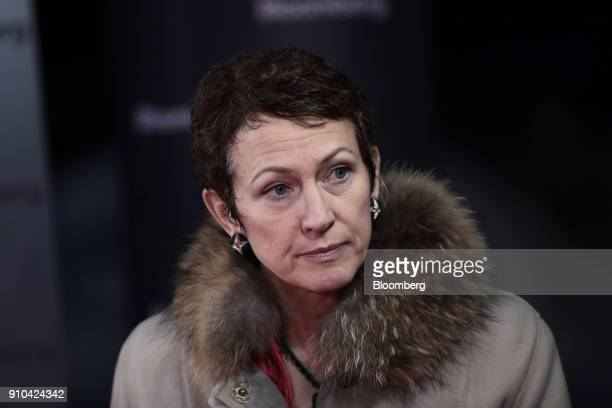 Inga Beale chief executive officer of Lloyd's of London pauses during a Bloomberg Television interview on the closing day of the World Economic Forum...