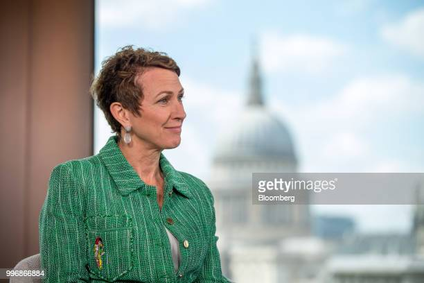 Inga Beale chief executive officer of Lloyds of London pauses during a Bloomberg Television interview in London UK on Wednesday July 11...