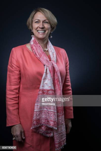 Inga Beale chief executive officer of Lloyds of London poses for a photograph following a Bloomberg Television interview in London UK on Friday Aug...