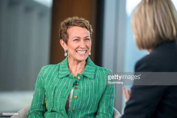 Inga Beale chief executive officer of Lloyds of London reacts during a Bloomberg Television interview in London UK on Wednesday July 11...