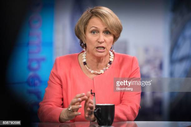 Inga Beale chief executive officer of Lloyds of London speaks during a Bloomberg Television interview in London UK on Friday Aug 25 2017 Beale wants...