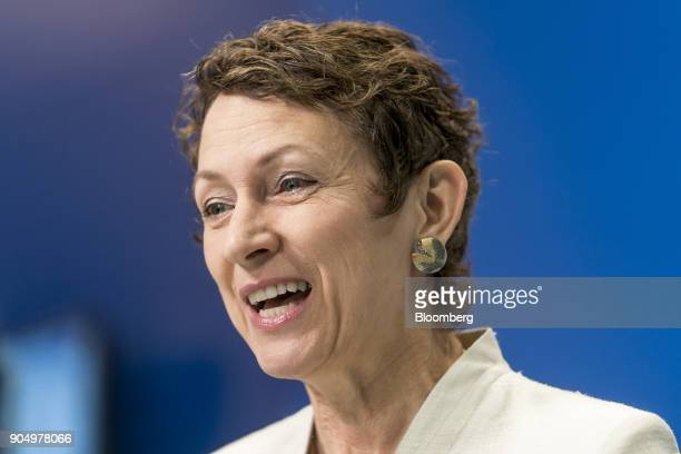 Inga Beale chief executive officer of Lloyd's of London speaks during a Bloomberg Television interview on the sidelines of the Hong Kong Asian...