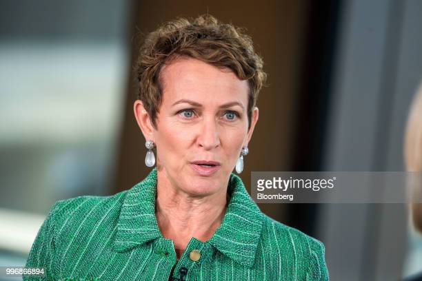Inga Beale chief executive officer of Lloyds of London speaks during a Bloomberg Television interview in London UK on Wednesday July 11...